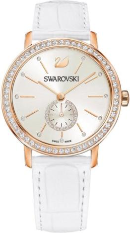 Swarovski Schweizer Uhr »Graceful Lady Uhr, Lederarmband, weiss, roséfarben, 5295386«