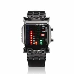 73JohnPol Multifunktionale Square Dial Uisex Binäre LED Digitaluhren Gummiband Lässige Sport Outdoor Armbanduhr - 1