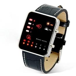 ALIKEEY Damen Digital Quarzwerk Digital rote binäre PU Uhr mit Metall Armband - 1