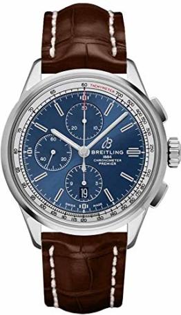 Breitling Premier Chronograph 42 blaues Zifferblatt auf braunem Armband A13315351C1P1 - 1