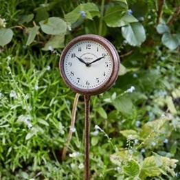 Garten Stake Uhr Outdoor Metall Grenze Dekoration Rost Finish 2 Jahre Garantie - 1