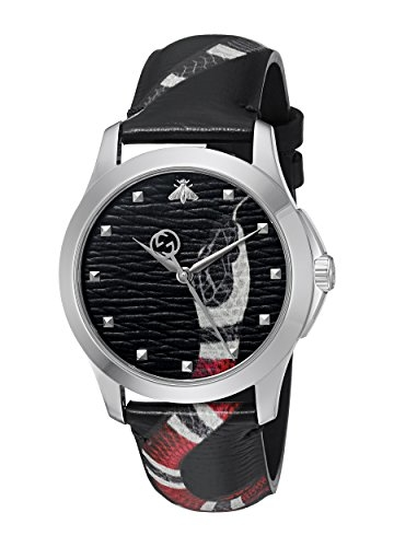 Gucci Unisex ohne Quarz Uhr mit Leder Armband YA1264007 - 1