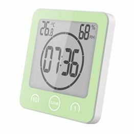 GuDoQi Badezimmer Uhr Dusche Timer Wand Wecker Digitaluhren Steckdose Bad Wasserdicht Innen Thermometer Hygrometer Für Dusche Kochen Make-Up - 1