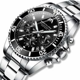 Herren Uhr Männer Chronographen Gold Edelstahl Wasserdicht Designer Armbanduhren Mann Militär Großes Leuchtende Analog Datum Business Uhren - 1