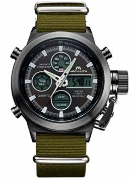 Herren Uhren Männer Militär Wasserdichte Chronograph Analog Digital Sport Armbanduhr Dual Display LED Groß Stoppuhr Shock Resistant Casual Armbanduhren Uhren für Männer - 1