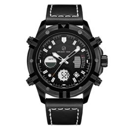 Herrenuhren Sportarten Digital Analog Wasserdicht Multifunktions Milit?r Braun Leder Alarm Stop Armbanduhr (Voll schwarz) - 1