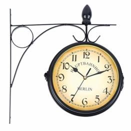 Iglobalbuy doppelseitige Wanduhr,Europäische Stil beidseitige Wanduhr Bahnrofsuhr Gartenuhr für die Befestigung im Außenbereich (Schwarz) - 1
