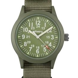 Infantry Herren Uhr Armbanduhr Männer Militär Uhren Herrenarmbanduhr Fliegeruhr Nylonband Grün Militäruhr - 1