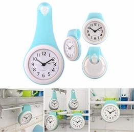 MRKE Wanduhr Wasserdicht, Geräuschelose Nicht Tickende Wanduhr Badezimmer Badezimmeruhr Uhrzeit Uhr mit Saugnapf, Blau - 1