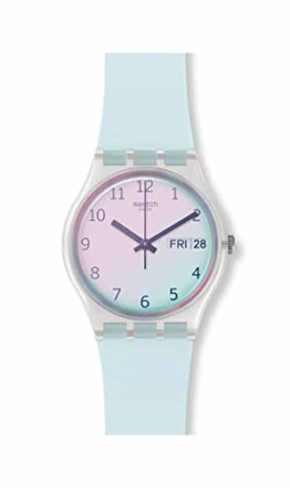 Swatch Damen Analog Quarz Uhr mit Silikon Armband GE713 - 1