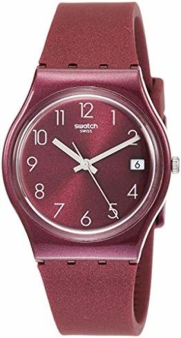 Swatch Damen Analog Quarz Uhr mit Silikon Armband GR405 - 1