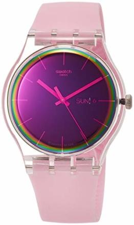 Swatch Damen Analog Quarz Uhr mit Silikon Armband SUOK710 - 1