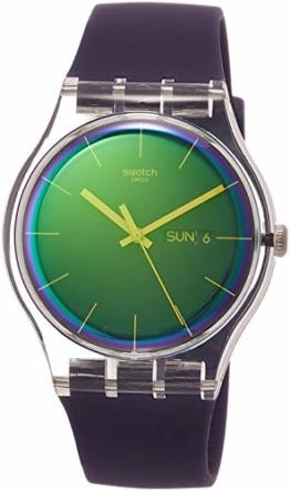 Swatch Damen Analog Quarz Uhr mit Silikon Armband SUOK712 - 1