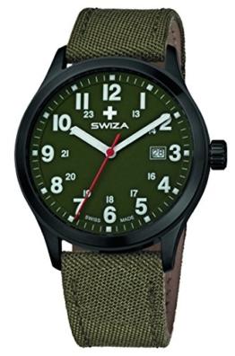 SWIZA Kretos Gent Quarzlaufwerk, Edelstahl-Gehäuse, 24h-Anzeige, Stoffarmband, Oliv Luxus Uhr Made in Swiss - 1