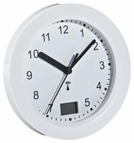 TFA Dostmann Funk Badezimmeruhr, mit Temperaturanzeige, Funkuhr, feuchtigkeitsgeschütztz, 4 große Saugnäpfe - Befestigung, weiß, 60.3501 - 1