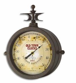 TFA Dostmann Nostalgie Wanduhr und Thermometer, Gartenuhr, Aussenbereich geeignet, doppelseitig, 60.3011 - 1