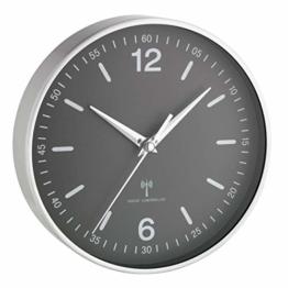 TFA Dostmann Wanduhr, Analog, Funkwanduhr, geeignet als Küchenuhr/Baduhr, aus Aluminium und Glas, schwarz, 60.3503.10 - 1
