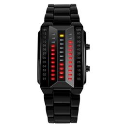 TONSHEN Damenuhr Sportuhr Digitaluhr Cool Schwarz Edelstahl Binäre Uhr Rot und Gelb LED Licht Mode Design Uhren Kalender Uhren für Damen Junge Young - 1