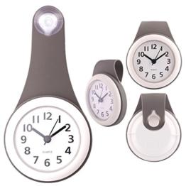TXXCI Badezimmer wasserdicht Wanduhr Uhr Saugnäpfe Nicht-Tickende Badezimmeruhr - Grau - 1