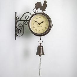 Über Zeit Halterung montiert Hahn und Glocke Garten Outdoor Uhr und Thermometer-47cm (18¾ in) - 1