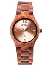Alienwork Damen-Armbanduhr Quarz rot mit Holz-Armband Rose-Gold Holzuhr Natur-Holz - 1