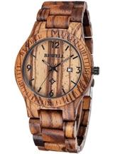 Alienwork Herren Damen Armbanduhr Quarz braun mit Holz-Armband Kalender Datum Holzuhr Natur-Holz - 1
