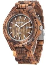 Alienwork Herren Damen Armbanduhr Quarz braun mit Holz-Armband Kalender Datum Natur-Holz - 1