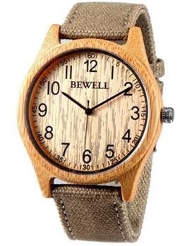 Alienwork Herren Damen Armbanduhr Quarz gelb mit Canvas-Armband grün natürliche Bambus handgefertigt - 1