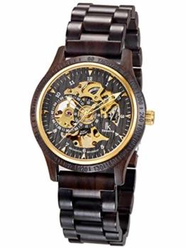 Alienwork Herren mechanische Automatik-Uhr schwarz mit Holz-Armband Gold Skelett Holzuhr - 1