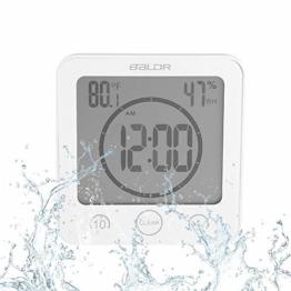 Badezimmeruhr Wasserdichte Dusche Uhr Timer Saugnapf Digital LCD Display Thermometer Hygrometer Silent Wanduhr Timer Küche Badezimmer(Weiß) - 1