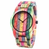 BEWELL Herren Uhr Holz Analog Japanisches Quarzwerk mit Bambus Armband Rund Holzuhr Männer (Mehrfarbig 1) - 1
