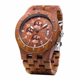 BEWELL Uhren Aus Holz Herrenuhr Chronograph Quarzwerk mit Holzarmband Datum Kalender Stoppuhr Rund Uhr (Rot) - 1