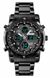BHGWR Herren Analog Digital Quarz Uhr mit Silber Edelstahl Armband, Herren Militär Sportuhr mit Wecker/Countdown/Stoppuhr, großes Gesicht wasserdicht Digitaluhr Armbanduhr für Männer (B-schwarz) - 1