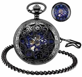 BHGWR Herren Taschenuhr mit Halskette Kette, Retro Herren Analog Steampunk Skelett Uhr, Mechanisch Handaufzug Taschenuhren mit römischen Ziffern für Herren - Schwarz - 1