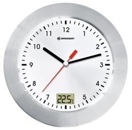 Bresser MyTime Bath Bad Wanduhr mit Temperaturanzeige und Quarz-Uhrwerk mit gebürstetem Aluminiumrahmen, Saugnäpfen und Standfuß für Tischmontage, weiß/silber - 1