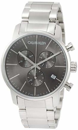 Calvin Klein Herren-Armbanduhr Chronograph Quarz Edelstahl, silber/schwarz K2G27143 - 1