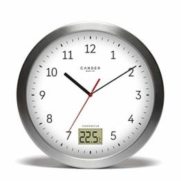 Cander Berlin MNU 4017 Weiße Badezimmeruhr aus Aluminium mit Vier Saugnäpfen zur Befestigung, Temperaturanzeige und lautlosem Uhrwerk - 17 cm (Ø) - kein nerviges Ticken - 1