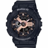 CASIO Damen Analog-Digital Quarz Uhr mit Harz Armband BA-110RG-1AER - 1