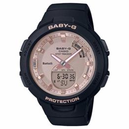 CASIO Damen Analog-Digital Quarz Uhr mit Harz Armband BSA-B100MF-1AER, Rosa-Schwarz - 1