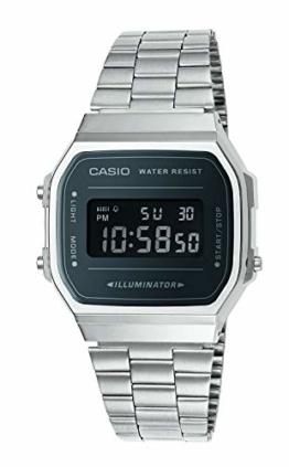 Casio Unisex Erwachsene Digital Quarz Uhr mit Edelstahl Armband A168WEM-1EF - 1
