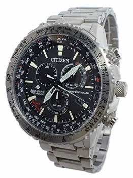 Citizen Eco-Drive Radio Controlled Uhr Herren Titan 20 bar Analog Chrono Datum Grau - 1