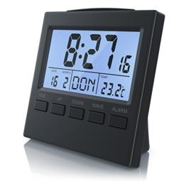 CSL - Funkwecker digital mit Temperaturanzeige - DCF-Funkuhr Reisewecker - 3,3 Zoll LCD-Display mit Blauer LED Hintergrundbeleuchtung - Schlummerfunktion Snooze - Innen- Datums- und Wochentagsanzeig - 1