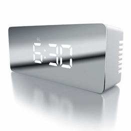 CSL - LED Wecker digital inkl. Temperaturanzeige - Reisewecker Alarmwecker - Innen-Temperaturanzeige - Schlummerfunktion - 12-24-h-Format - Nachtmodus - 2X Helligkeitsstufen - weiß - 1