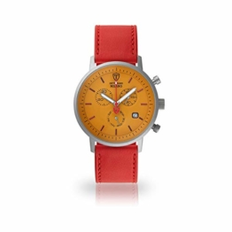 DETOMASO Milano Herren-Armbanduhr Chronograph Analog Quarz rotes Lederarmband gelbes Zifferblatt DT1052-U-941 - 1