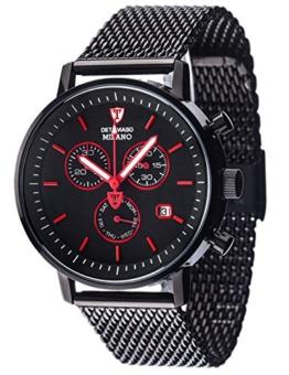 DETOMASO MILANO Herren-Armbanduhr Chronograph Analog Quarz schwarzes Edelstahl Milanaise-Armband schwarzes Zifferblatt DT1052-M - 1