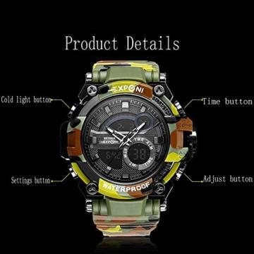 Digital Sports Watch LED-Bildschirm große Gesicht Militäruhren und wasserdicht lässig leuchtenden Stoppuhr Alarm einfache Armee Watch (Farbe : ArmyGreen) - 2