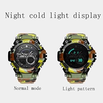 Digital Sports Watch LED-Bildschirm große Gesicht Militäruhren und wasserdicht lässig leuchtenden Stoppuhr Alarm einfache Armee Watch (Farbe : ArmyGreen) - 3