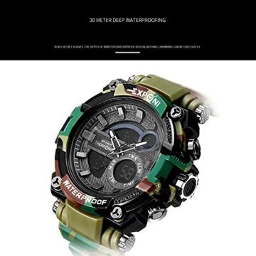 Digital Sports Watch LED-Bildschirm große Gesicht Militäruhren und wasserdicht lässig leuchtenden Stoppuhr Alarm einfache Armee Watch (Farbe : ArmyGreen) - 4