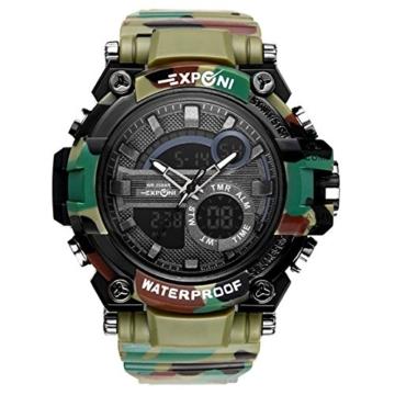 Digital Sports Watch LED-Bildschirm große Gesicht Militäruhren und wasserdicht lässig leuchtenden Stoppuhr Alarm einfache Armee Watch (Farbe : ArmyGreen) - 1