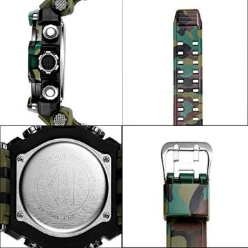 Digital Sports Watch LED-Bildschirm große Gesicht Militäruhren und wasserdicht lässig leuchtenden Stoppuhr Alarm einfache Armee Watch (Farbe : ArmyGreen) - 5